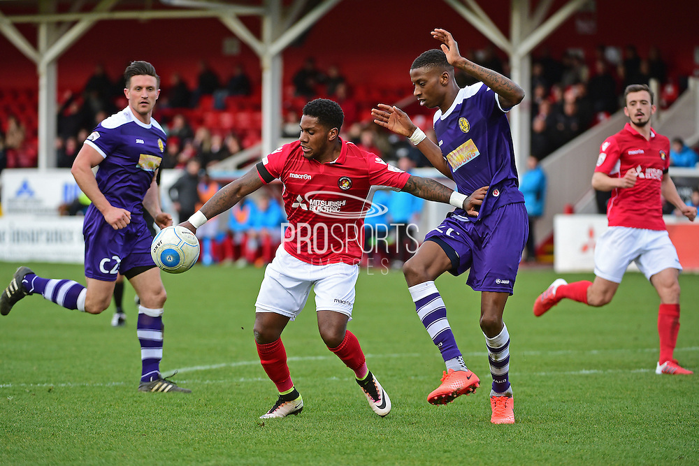 Ebbsfleet United forward Bradley Bubb (10) in action during the Vanarama National League South match between Ebbsfleet United and East Thurrock United at the Enclosed Ground, Whitehawk, United Kingdom on 4 March 2017. Photo by Jon Bromley.