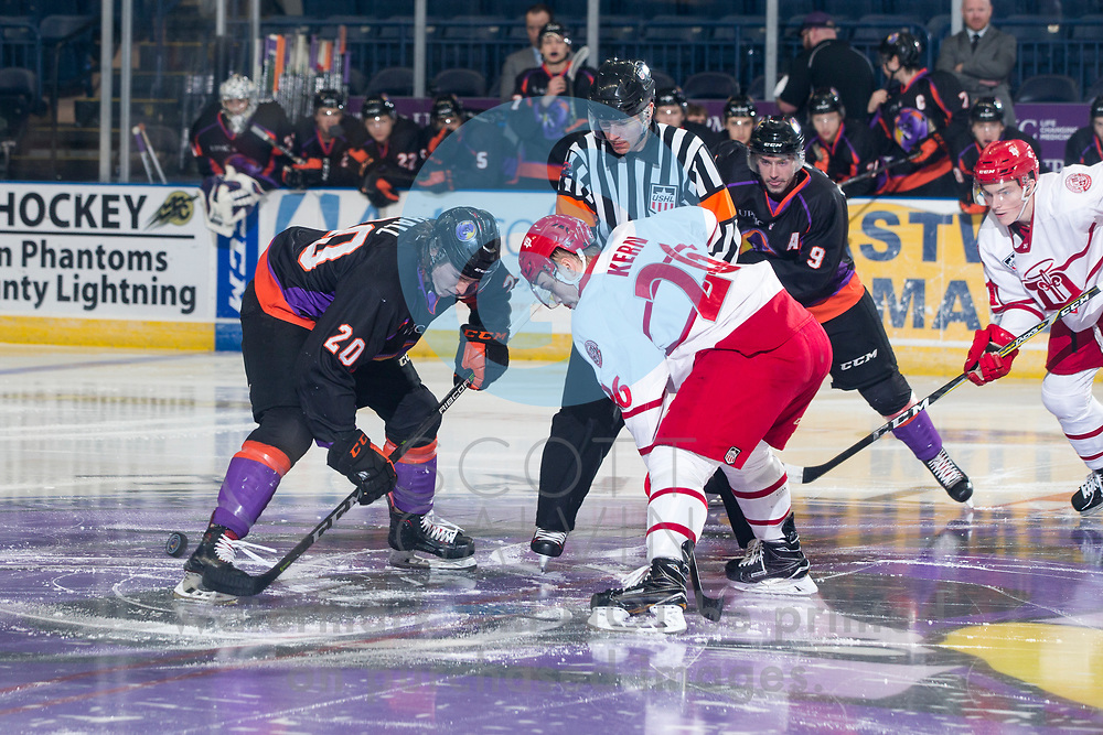 The Youngstown Phantoms defeat the Dubuque Fighting Saints 6-5 in overtime at the Covelli Centre on January 27, 2018.<br /> <br /> Curtis Hall, center, 20