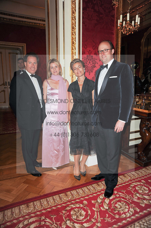 Left to right, VISCOUNT & VISCOUNTESS LINLEY,  HRH PRINCESS JULIE OF LUXEMBOURG and HRH PRINCE ROBERT OF LUXEMBOURG at a dinner hosted by HRH Prince Robert of Luxembourg in celebration of the 75th anniversary of the acquisition of Chateau Haut-Brion by his great-grandfather Clarence Dillon held at Lancaster House, London on 10th June 2010.