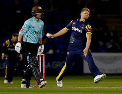 Glamorgan's Timm van der Gugten in action today <br /> <br /> Photographer Simon King/Replay Images<br /> <br /> Vitality Blast T20 - Round 14 - Glamorgan v Surrey - Friday 17th August 2018 - Sophia Gardens - Cardiff<br /> <br /> World Copyright © Replay Images . All rights reserved. info@replayimages.co.uk - http://replayimages.co.uk