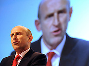 © Licensed to London News Pictures. 28/09/2011. LONDON, UK. John Healey MP, Shadow Secretary of State for Health addresses The Labour Party Conference in Liverpool today (28/09/11). Photo credit:  Stephen Simpson/LNP