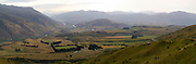 Panoramic view of the Kawarau Valley, from the Crown Range Road, near Arrowton, Otago, New Zealand.