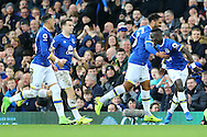 Idrissa Gueye of Everton (r) celebrates with his teammates after scoring his teams 1st goal. Premier league match, Everton v Sunderland at Goodison Park in Liverpool, Merseyside on Saturday 25th February 2017.<br /> pic by Chris Stading, Andrew Orchard sports photography.