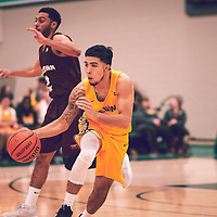 3rd year guard, Kameron Vales (3) of the Regina Cougars during the Men's Basketball Home Game on Fri Nov 30 at Centre for Kinesiology,Health and Sport. Credit: Arthur Ward/Arthur Images