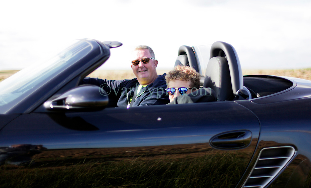 02 Sept 2019. St Denoeux, Pas de Calais, France.<br /> Messing about with cars. Rob and Ben in the Porsche Boxter.<br /> Photo©; Charlie Varley/varleypix.com