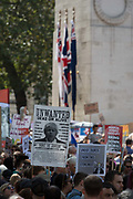 Pro-EU Remain protesters march to Stop the Coup past the Cenotaph in Whitehall, near Downing Street, at the end of a week that saw Prime Minister Boris Johnson ask Queen Elizabeth for permission to suspend prorogue the British Parliament during the final stages of his Brexit negotiations with the European Union, in Brussels, on 31st August 2019, in Westminster, London, England.
