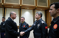 April 26, 2017 - Ankara, Türkiye - Turkish President Recep Tayyip Erdogan comes together with Turkish pilots on the World Pilots Day, Presidential Palace, Ankara. (Credit Image: © Depo Photos via ZUMA Wire)