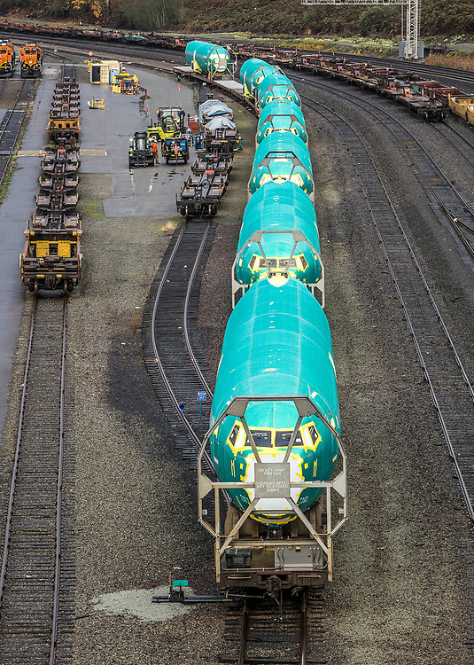 Boeing 737 fuselages on railroad cars near Seattle, Washington, for delivery to the Boeing Renton Assembly Plant in Renton, Washington, US, 11/28/2018.