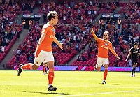 Blackpool's Kenny Dougall celebrates scoring his side's first goal <br /> <br /> Photographer Andrew Kearns/CameraSport<br /> <br /> The EFL Sky Bet League One Play-Off Final - Blackpool v Lincoln City - Sunday 30th May 2021 - Wembley Stadium - London<br /> <br /> World Copyright © 2021 CameraSport. All rights reserved. 43 Linden Ave. Countesthorpe. Leicester. England. LE8 5PG - Tel: +44 (0) 116 277 4147 - admin@camerasport.com - www.camerasport.com