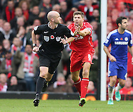 Steven Gerrard of Liverpool chases after Referee Anthony Taylor claiming for hand ball - Barclays Premier League - Liverpool vs Chelsea - Anfield Stadium - Liverpool - England - 8th November 2014  - Picture Simon Bellis/Sportimage