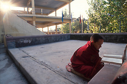 DHARAMSALA, INDIA - A novice monk studies at the Namgyal Monastery as the sun rises over the Dalai Lama's compound in Dharamsala, India. The focus of cultural life in Dharamsala is the Namgyal Monastery, the tantric college which performs rituals with and for His Holiness the Dalai Lama. The Namgyal Monastery was founded by the Third Dalai Lama in the late sixteenth century. Since then, the monastery has exclusively served the Dalai Lamas. A distinctive feature of this monastery is its diversity of practice: prayers and rituals of all the major schools of Tibetan Buddhism are performed by Namgyal monks. The monastery is now situated next to the Tsuglag Khang, or the Central Cathedral across from the Dalai Lama's residence. Young monks can often be seen studying, and practicing debate in the courtyard leading to His Holiness' residence. At present, the monastery has more than 180 monks, of which the younger monks study the major texts of Buddhist Sutra and Tantra.(PHOTO © JOCK FISTICK)