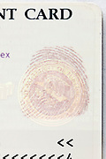 seal with finger print on a USA permanent resident card or green card