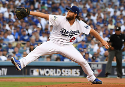 October 24, 2017 - Los Angeles, California, U.S. - Los Angeles Dodgers starting pitcher Clayton Kershaw throws to the plate against the Houston Astros in the first inning of game one of a World Series baseball game at Dodger Stadium on Tuesday, Oct. 24, 2017 in Los Angeles. (Photo by Keith Birmingham, Pasadena Star-News/SCNG) (Credit Image: © San Gabriel Valley Tribune via ZUMA Wire)