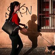 Zizkov. #prag #praha #prague #czechrepublic #zizkov #shadow #dog #woman #red #street #public #dailylife