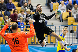 Ivan Gajic of RK Celje PL vs Mario Sostaric of RK Gorenje during handball match between RK Celje Pivovarna Lasko and RK Gorenje Velenje in Eighth Final Round of Slovenian Cup 2015/16, on December 10, 2015 in Arena Zlatorog, Celje, Slovenia. Photo by Vid Ponikvar / Sportida