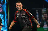 Nathan Aspinall (England) celebrates during the Betway Premier League Darts Night Eight at Marshall Arena, Milton Keynes, United Kingdom on 21 April 2021