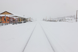"""""""Snowy Truckee Train Tracks 2"""" - These snow covered train tracks were photographed in the early morning in Downtown Truckee, California."""