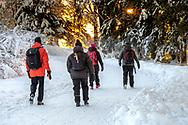 ÖSTERSUND 202101203<br /> Vinterbad och naturpromenad vid Minnesgärde, Odensala.<br /> Badarna promenerar hemåt i den kalla vinterdagen.<br /> <br /> Foto: Per Danielsson/Projekt.P