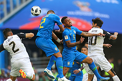 June 22, 2018 - Saint Petersburg, Russia - Johnny Acosta of the Costa Rica national football team and Thiago Silva, Gabriel Jesus (L-R) of the Brazil national football team vie for the ball during the 2018 FIFA World Cup match, first stage - Group E between Brazil and Costa Rica at Saint Petersburg Stadium on June 22, 2018 in St. Petersburg, Russia. (Credit Image: © Igor Russak/NurPhoto via ZUMA Press)