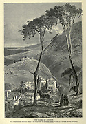 Wood engraving of The Slopes of Lebanon with a Maronite village in the foreground from 'Picturesque Palestine, Sinai and Egypt' by Wilson, Charles William, Sir, 1836-1905; Lane-Poole, Stanley, 1854-1931 Volume 3. Published in by J. S. Virtue and Co 1883
