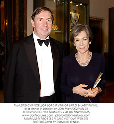 The LORD CHANCELLOR LORD IRVINE OF LAIRG & LADY IRVINE, at a dinner in London on 30th May 2002.PAN 78