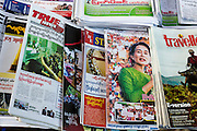 17 JUNE 2013 - YANGON, MYANMAR: Newspapers for sale in Yangon. The Burmese newspaper industry has enjoyed explosive growth this year after private ownership was allowed in 2013. Private newspapers were shut down under former Burmese leader Ne Win in the early 1960s. The revitalized private press is a sign of the dramatic changes sweeping Myanmar, formerly Burma, in the last three years.      PHOTO BY JACK KURTZ