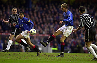 Rangers v Dunfermline, Scottish Premier.<br />pic Ian Stewart, February 3rd. 2001. Tore Andre Flo lobs the ball forward to Claudio Reyna, but the effort was saved by goalkeeper Ruitenbeek