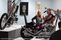 Cycle Source Magazine editor / publisher Chris Callen's Bone Daddy custom Harley-Davidson Sportster on view in the What's the Skinny Exhibition (2019 iteration of the Motorcycles as Art annual series) at the Sturgis Buffalo Chip during the Sturgis Black Hills Motorcycle Rally. SD, USA. Thursday, August 8, 2019. Photography ©2019 Michael Lichter.