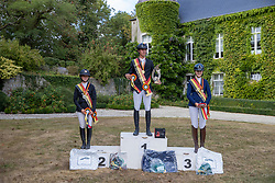 Podium Juniors, Binard Leon, Van DIjck Anne, Delvaux Camille<br /> BK Juniors Arville 20202<br /> © Hippo Foto - Dirk Caremans<br />  23/08/2020