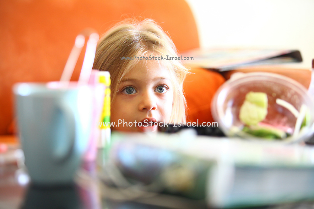 Young girl of 4 looks over a table loaded with food Model release available