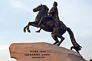 Saint Petersburg, Russia, 24/07/2005..The Bronze Horseman statue of Peter the Great on Decembrists Square by Palace Quay.