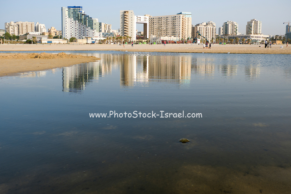 Israel, Ashdod skyline and coastline as seen from the shore of the Mediterranean sea