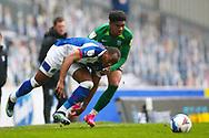 Blackburn Rovers defender Ryan Nyambe (2) and Birmingham City defender Marc Roberts (4) during the EFL Sky Bet Championship match between Blackburn Rovers and Birmingham City at Ewood Park, Blackburn, England on 8 May 2021.