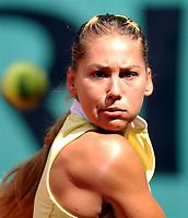 Tennis. French Open. Roland Garros, Paris. 29.05.2002.<br />Anna Kournikova fra Russland tapte sin kamp i første runde.<br />Foto: Roger Parker, Digitalsport