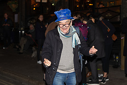 A pro EU campaigner dances in the street outside the Black Lion pub in Whitehall as the result of the Parliamentary vote on Prime Minister Theresa May's Brexit deal. London, January 15 2019.