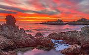 Red Sky Sunset at Cameo Shores Corona Del Mar California