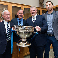 All Ireland Winning Dublin Manager Jim Gavin with his father Jimmy, the Clare Football Captain, Gary Brennan, Cooraclare Minor Manager Martin Morrissey and the Sam McGuire Cup