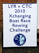Putney, London,   Boat Race signage,156th University Boat Race, River Thames, between Putney and Chiswick, on the Championship Course.  Saturday  03/04/2010 [Mandatory Credit Karon Phillips/Intersport Images]