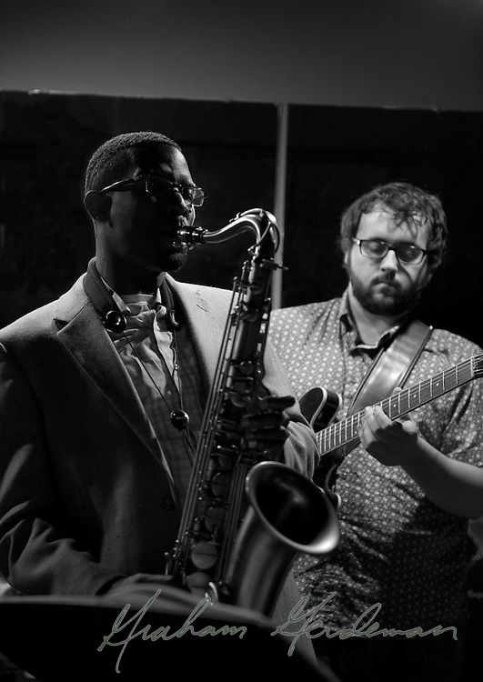 Saxophonist Cord Martin and Guitarist James DaSilva performing with the Marcus Finnie Band at Nine48Jazz in Nashville, TN