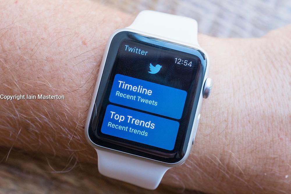 Twitter social media app on an Apple Watch