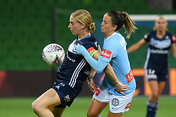 November 16, 2018 - Melbourne, Victoria, Australia - NATASHA DOWIE (9) of Melbourne Victory protects the ball in round 3 of the W-League competition between Melbourne City and Melbourne Victory during the 2018 season at AAMI Park, Melbourne, Australia. The Westfield W-League is Australia's national women's semi-professional soccer league. Melbourne Victory won 2-0. (Credit Image: © Sydney Low/ZUMA Wire)