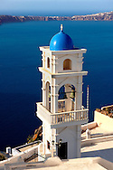 Blue Domed church of Imerovigli, Santorini, Greece. .<br /> <br /> If you prefer to buy from our ALAMY PHOTO LIBRARY  Collection visit : https://www.alamy.com/portfolio/paul-williams-funkystock/santorini-greece.html<br /> <br /> Visit our PHOTO COLLECTIONS OF GREECE for more photos to download or buy as wall art prints https://funkystock.photoshelter.com/gallery-collection/Pictures-Images-of-Greece-Photos-of-Greek-Historic-Landmark-Sites/C0000w6e8OkknEb8
