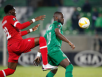 RAZGRAD, BULGARIA - OCTOBER 22: Elvis Manu of Ludogorets competes against the opposite player during the UEFA Europa League Group J stage match between PFC Ludogorets Razgrad and Royal Antwerp at Ludogorets Arena on October 22, 2020 in Razgrad, Bulgaria. (Photo by Nikola Krstic/MB Media)