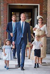 July 9, 2018 - London, London, United Kingdom - Image licensed to i-Images Picture Agency. 09/07/2018. London, United Kingdom. Princess Charlotte and Prince George hold the hands of their father, the  Duke of Cambridge, as they arrive at the Chapel Royal, St James's Palace, London for the christening of their brother, Prince Louis, who is being carried by their mother, the Duchess of Cambridge. (Credit Image: © Pool/i-Images via ZUMA Press)