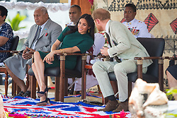 The Duke and Duchess of Sussex attend the unveiling of a statue commemorating Sergeant Talaiasi Labalaba, at Nadi Airport, in Nadi, Fiji, on day three of the royal couple's visit to Fiji.