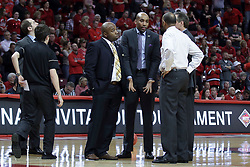 20 March 2017:  Knights coaching staff during a College NIT (National Invitational Tournament) 2nd round mens basketball game between the UCF (University of Central Florida) Knights and Illinois State Redbirds in  Redbird Arena, Normal IL<br />