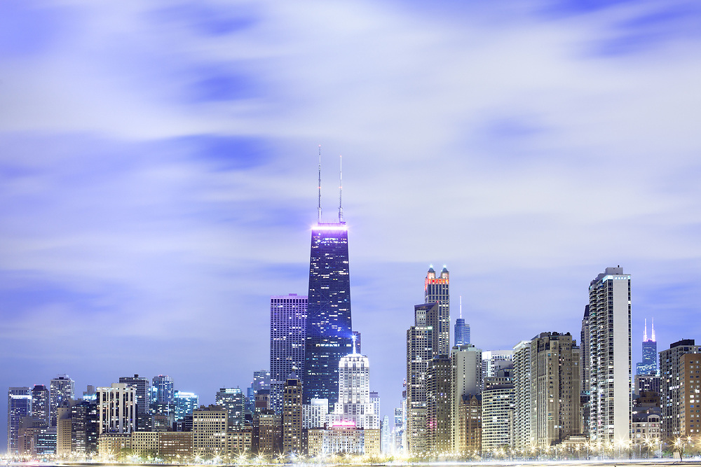 Skyline of downtown Chicago at dusk in the waterfront of lake MIchigan, Illinois, United States
