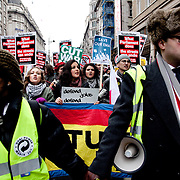 Thousands of students and some trade unionists took to the streets in London to protest against the proposed Lib-Con coalition Government's cuts in educationa and public sector. The march started in Mellet Street next to SOAS University and by Parliament it dissolved into many smaller groups dispersing around Central London. It was a noicy but peaceful protest with very few arrests and no injuries.