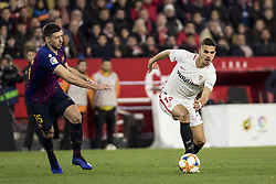 January 23, 2019 - Seville, Spain - ANDRE SILVA of Sevilla (R) vies for the ball with CLEMENT LENGLET of Barcelona (L)  during the King's Cup quarter-final first leg soccer match between Sevilla FC and FC Barcelona at Sanchez Pizjuan Stadium (Credit Image: © Daniel Gonzalez Acuna/ZUMA Wire)