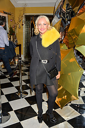 AMANDA ELIASCH at a party to celebrate theunveiling of the Claridge's Christmas Tree designed by Christopher Bailey for Burberryheld at Claridge's, Brook Street, London on 18th November 2015.